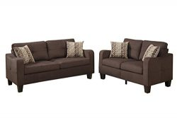 Poundex Bobkona Spencer Linen-Like Polyfabric 2Piece Sofa & Loveseat Set in Chocolate