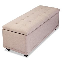 JAXPETY 46″ Tufted Fabric Storage Ottoman Lift Top Shoe Bench Seat Footrest Stoo-Beige