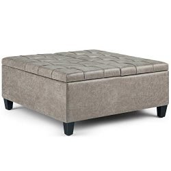 Simpli Home AXCOT-265-DTP Harrison Coffee Table Storage Ottoman, Distressed Grey Taupe
