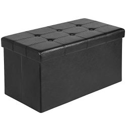 Ulikit Leather Folding Storage Ottoman Bench, Storage Toy Ottoman (Black)
