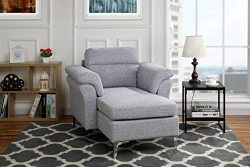 Modern Living Room Linen Fabric Chaise Lounge with Arm Rests (Light Grey)