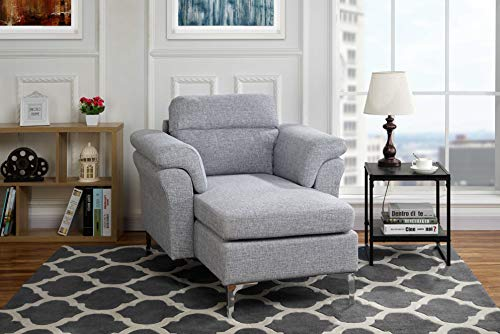 Modern Living Room Linen Fabric Chaise Lounge With Arm