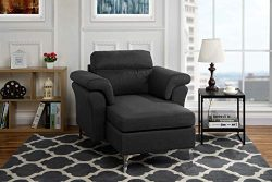 Modern Living Room Linen Fabric Chaise Lounge with Arm Rests (Dark Grey)