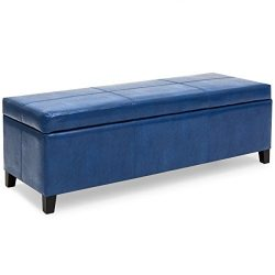 Best Choice Products Upholstered PU Leather Storage Ottoman Stool Seat Coffee Table Bench for Li ...
