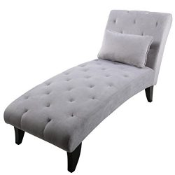 YongQiang Chaise Lounge Button Tufted Sofa Chair Modern Upholstered Couch for Bedroom or Living  ...