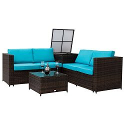 Kinbor 4 PC Outdoor Dark Brown All-Weather Rattan Wicker Patio Loveseat Sofas Blue Cushion Seat  ...