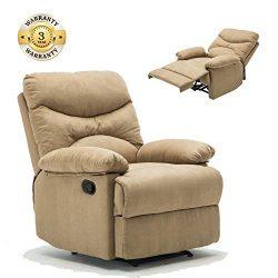 Massage Recliner Chair, Microfiber Ergonomic Lounge Living Room Sofa Heated Control, Beige