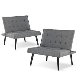 Altrobene Set of 2 Armless Accent Reception Chairs/Convertible Futon Sofa Couch Bed Sleeper/Chai ...