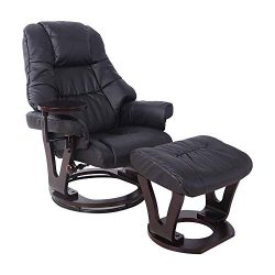 LCH Modern Recliner Sofa with Footrest Ottoman – Adjustable Smooth Side Table Padded PU Le ...