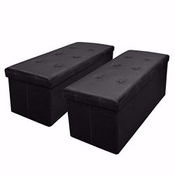 Otto & Ben 30″ Storage Ottoman – [2pc Set] Folding Toy Box Chest with Memory Foa ...