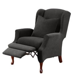 SureFit Stretch Pique – Reclining Wing Chair Slipcover – Black