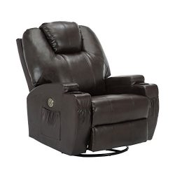 Mecor Massage Recliner Chair with Cup Holder, Electric Heated 360 Swivel Rocker Chair for Eldelr ...