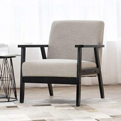 Art Leon Mid-Century Retro Modern Fabric Upholstered Accent Chair,Solid Wood Frame Low Lounge Ar ...
