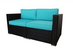 Patio Furniture Black Couch Outdoor Wicker Sofa Set Garden Rattan Turquoise Cushion Cover Cushio ...