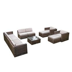 MAGIC UNION Outdoor Patio PE Rattan Wicker Cushion Patio Furniture 11 Pieces Sofa Set