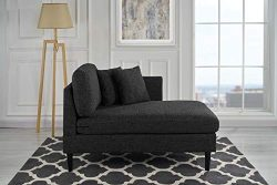 Classic Living Room Linen Fabric Chaise Lounge (Ash Grey)