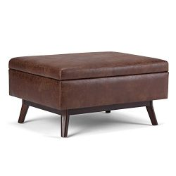 Simpli Home Owen Coffee Table Ottoman with Storage, Distressed Saddle Brown