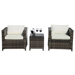 PATIOROMA Patio Conversation Set,Grey Rattan PE Wicker Patio Furniture Bistro Sets with Two Sing ...