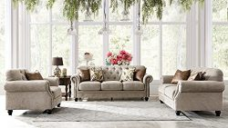 Acanva Chesterfield Chenille Living Room Set Sofa, 3 Piece, Almond
