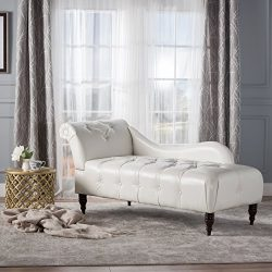 Christopher Knight Home 300526 Antonya Leather Tufted Chaise Lounge, Ivory