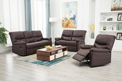 BestMassage Recliner Sofa Set 3PCS Motion loveseat Living Room sectional Reclining,Sofa Leather  ...