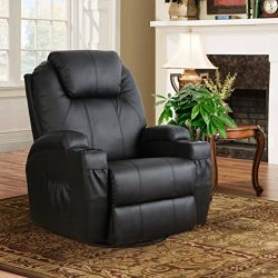 Esright Heated Massage Recliner 360 Degree Swivel Sofa PU Leather Chair (Black)