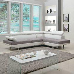 Divano Roma Furniture Modern Contemporary Designed Two Tone Microfiber and Bonded Leather Sectio ...