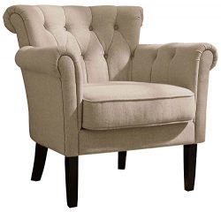Homelegance Barlowe Fabric Flared Accent Chair, Khaki/Brown