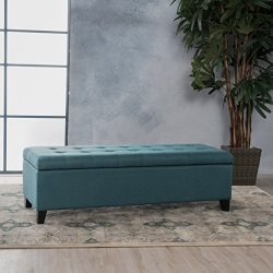 Christopher Knight Home 299866 Living Sterling Dark Teal Fabric Storage Ottoman, Dimensions: 19. ...