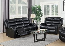 GTU Furniture Motion Sofa Loveseat Recliner Living Room Bonded Leather Set (Sofa and Loveseat, B ...
