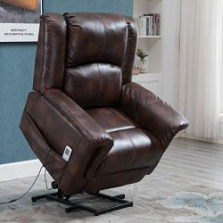 Esright Power Lift Chair Recliner Wall Hugger PU Leather Heated Vibration with Multi-Function Co ...