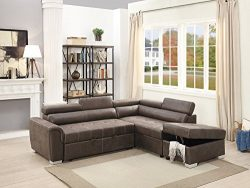 Poundex Breathable Leatherette 2 Piece Sectional Convertible Sofa in Dark Coffee Brown,