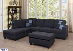 Eternity Home Star Home Living Left Facing Sectional Sofa with Ottoman, Charcoal Grey