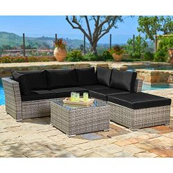 SUNCROWN Outdoor Furniture (4-Piece Set) All-Weather Sectional Sofa Grey Checkered Wicker w/Blac ...