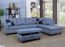 Beverly Fine Furniture SH127B F127B Right Facing Linen Russes Sectional Sofa Set with Ottoman, D ...