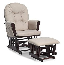 Storkcraft Hoop Glider and Ottoman Set Cherry/Beige, Glider/Ottoman Set with Side Pockets, Soft  ...