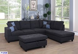 Beverly Fine Funiture CT125B Sectional Sofa Set, Charcoal Grey