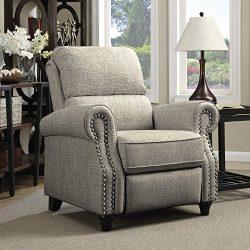 Domesis Push Back Recliner Chair in Barley Tan Linen