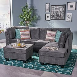 Christopher Knight Home 296314 Canterbury Sectional Sofa, Charcoal