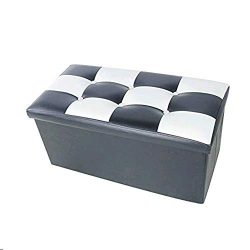 Lhh Storage Ottoman Leather Folding Toy Box,Bench Foot Rest for Bedroom,Storage Chest/Footrest/P ...