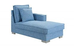 Classic Living Room Linen Fabric Chaise Lounge (Light Blue)