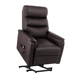 Esright Power Lift Chair Classic Recliner PU Leather Ergonomic Lounge with Remote, Coffee