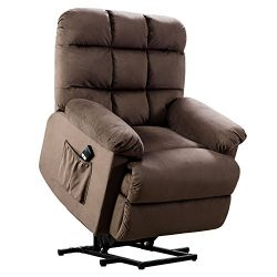 BONZY Lift Recliner Chair with Over Stuffed Armrest and Comfort Broad Backrest-Chocolate