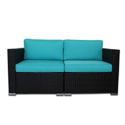 Outime Garden Sofa PE Black Rattan Wicker Sofa Set Garden Patio Furniture Cushioned Sectional Co ...