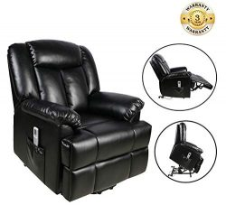 Power Lift Recliner Sofa Chair with Massage and Heating, Luxurious Breathable Leather Air Lounge ...