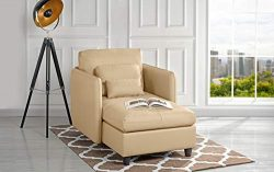 Living Room Leather 57.8″ inch Chaise Lounge (Beige)
