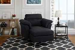 Modern Living Room Linen Fabric Chaise Lounge with Arm Rests (Black)