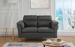 Living Room Linen Fabric Loveseat Sofa, 2 Seater Couch (Dark Grey)