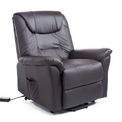 HomCom Faux Leather Three Position Lift Chair Recliner with Remote – Dark Brown