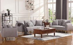 HONABY 3 Piece Chair Loveseat Sofa Sets for Living Room Furniture Sets, Light Grey